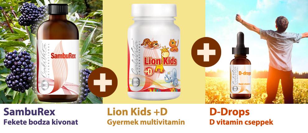 43207a38 Calivita Tavaszi Immunerősítő Csomag ovisoknak: Fekete bodza + Lion Kids +  D3 vitamin cseppek